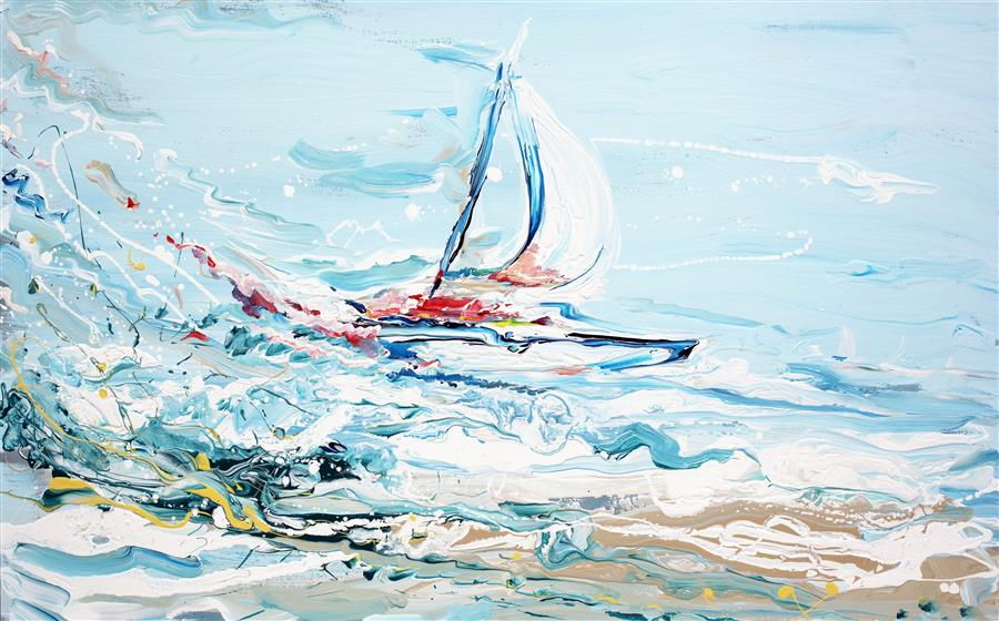 Discover Original Art by Piero Manrique | Sailing Flow acrylic painting | Art for Sale Online at UGallery