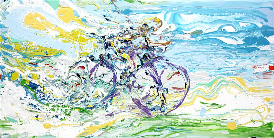 Discover Original Art by Piero Manrique | Bike Ride acrylic painting | Art for Sale Online at UGallery