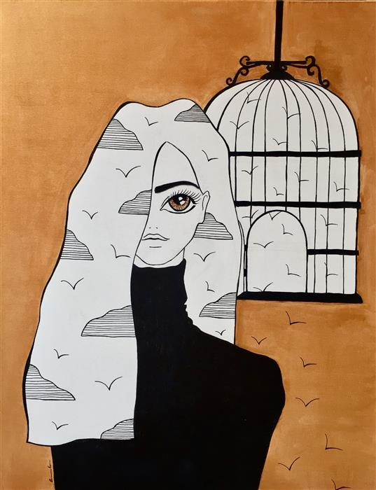 Discover Original Art by Ramona Russu | Birds and Cages acrylic painting | Art for Sale Online at UGallery