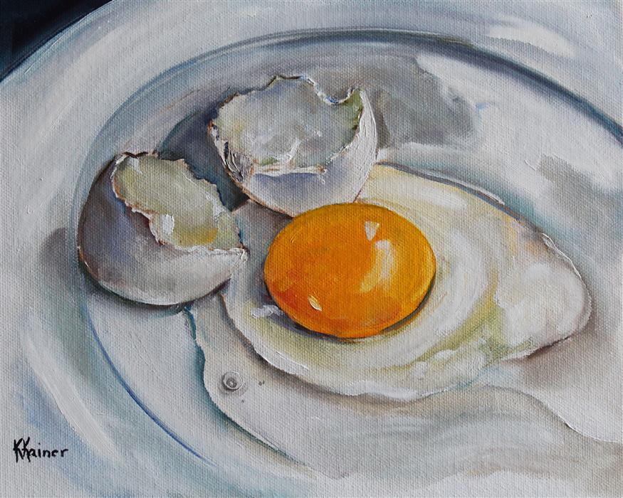 Discover Original Art by Kristine Kainer | Broken Egg oil painting | Art for Sale Online at UGallery