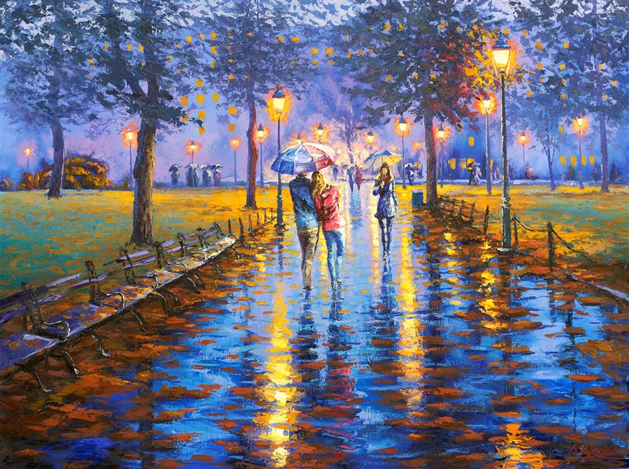 Discover Original Art by Stanislav Sidorov | Twilight Stroll, Central Park New York oil painting | Art for Sale Online at UGallery