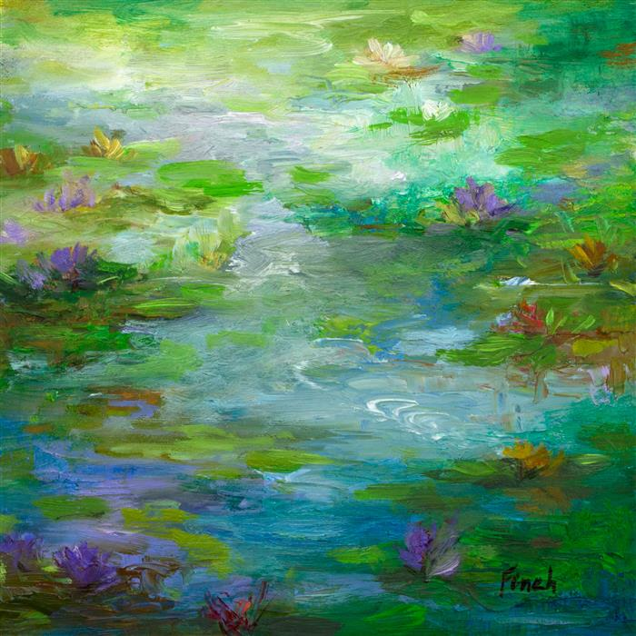 Discover Original Art by Sheila Finch | Waterlily Pond oil painting | Art for Sale Online at UGallery