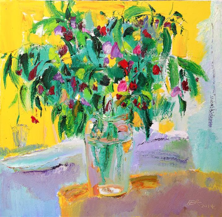 Discover Original Art by Yi Tian | Flowers in Vase 027 oil painting | Art for Sale Online at UGallery