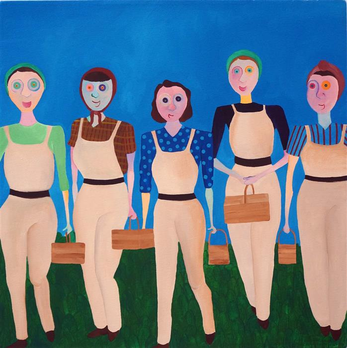 Discover Original Art by Lucille Pack | Land Girls acrylic painting | Art for Sale Online at UGallery
