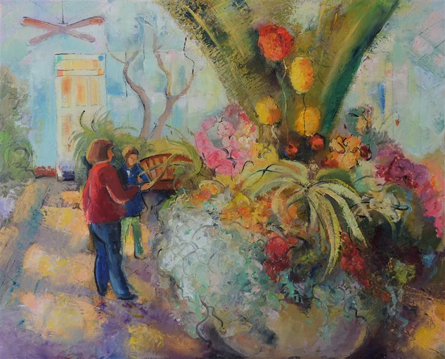 Discover Original Art by Dina Volkova | Greenhouse 1 oil painting | Art for Sale Online at UGallery