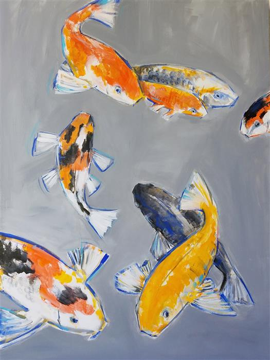 Discover Original Art by Victoria Bearden | Eight Koi acrylic painting | Art for Sale Online at UGallery