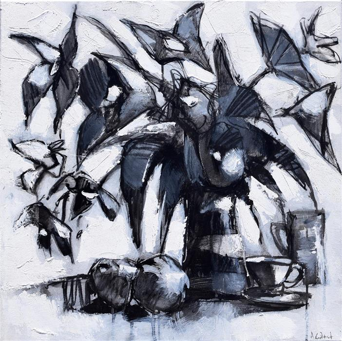 Discover Original Art by Allen Wittert | Flowers in Black and White acrylic painting | Art for Sale Online at UGallery
