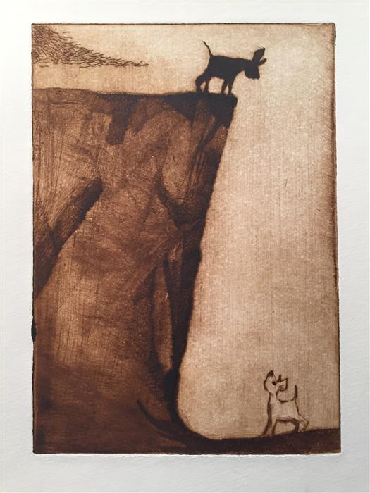 Discover Original Art by Doug Lawler | The Cliff printmaking | Art for Sale Online at UGallery