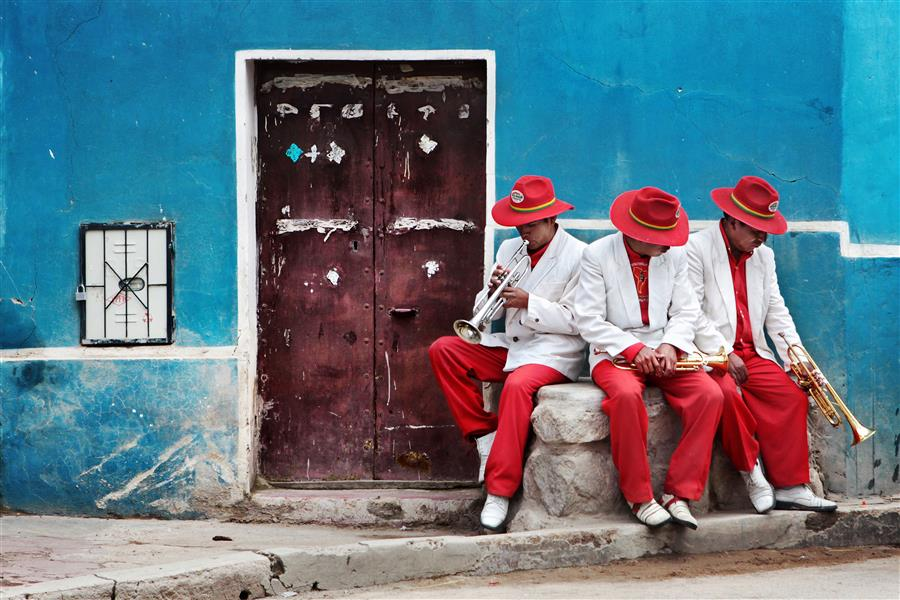 Original art for sale at UGallery.com | Street Musicians by MARIA PLOTNIKOVA | $145 |  | ' h x ' w | \art\photography-Street-Musicians