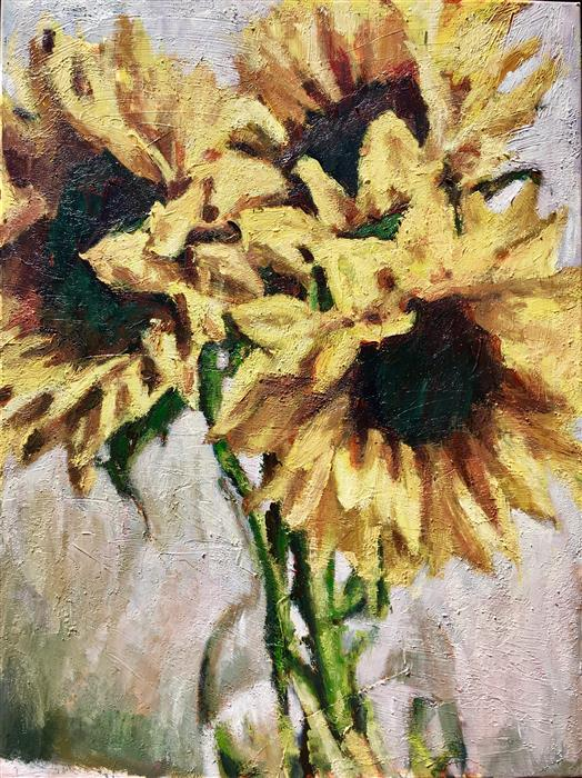 Discover Original Art by Nava Lundy | Sunflower Trio acrylic painting | Art for Sale Online at UGallery
