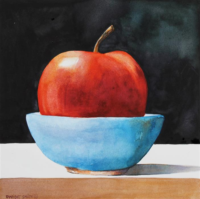 Discover Original Art by Dwight Smith | Red Apple with Blue Bowl watercolor painting | Art for Sale Online at UGallery