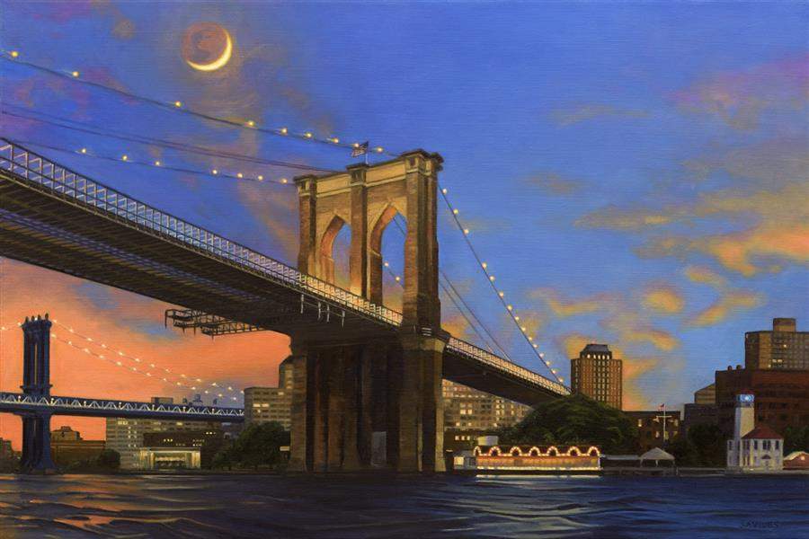 Discover Original Art by Nick Savides | Moonrise over Brooklyn Bridge oil painting | Art for Sale Online at UGallery