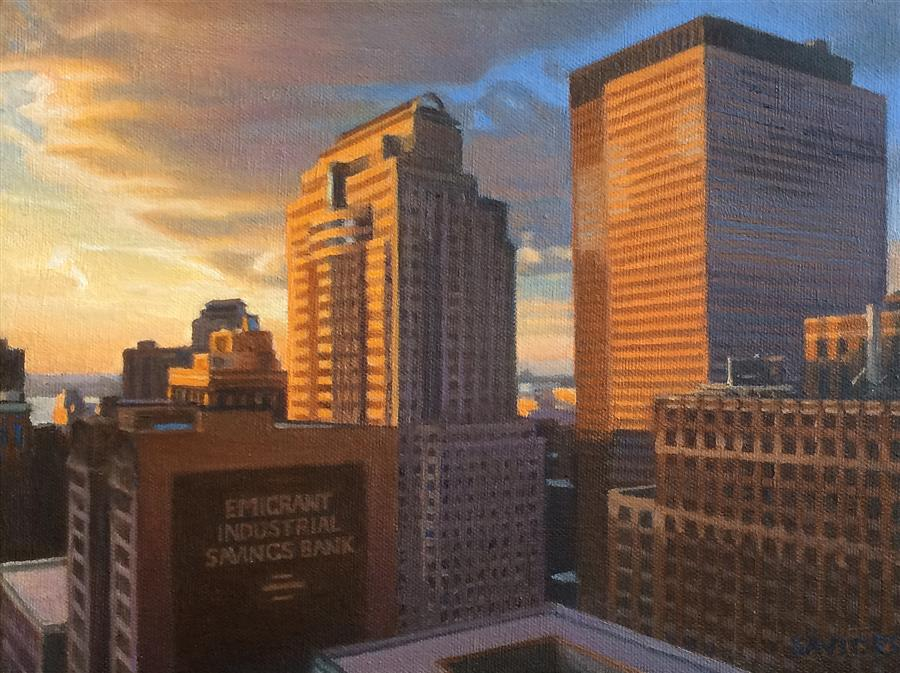 Discover Original Art by Nick Savides | View from City Hall at Sunset oil painting | Art for Sale Online at UGallery
