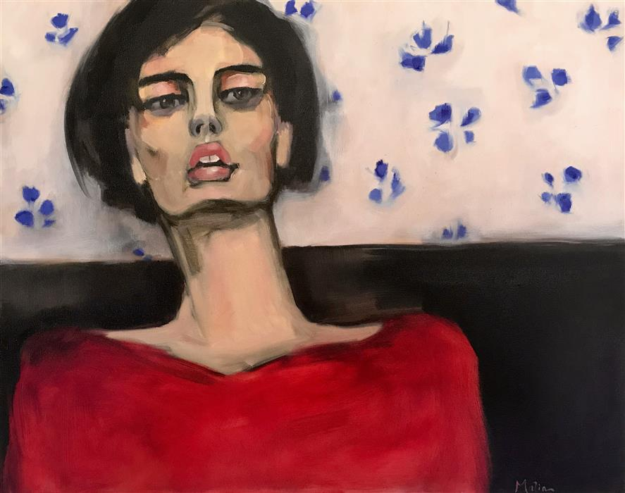 Discover Original Art by Malia Pettit | Waiting in the Cafe oil painting | Art for Sale Online at UGallery
