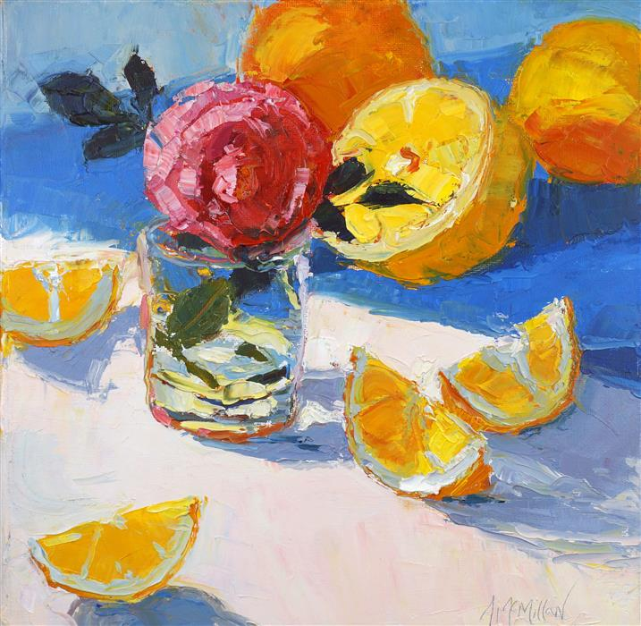 Discover Original Art by Ann  McMillan | Tea Rose and Meyer Lemons oil painting | Art for Sale Online at UGallery