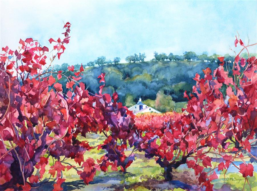 Discover Original Art by Catherine McCargar | Sonoma Red watercolor painting | Art for Sale Online at UGallery