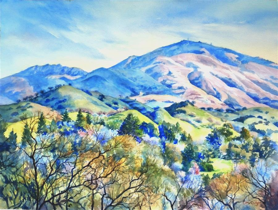Discover Original Art by Catherine McCargar | Western Slopes of Mount Diablo watercolor painting | Art for Sale Online at UGallery