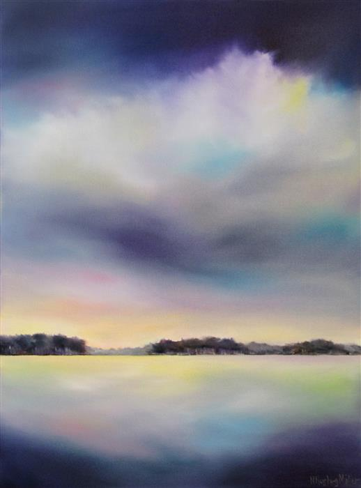 Discover Original Art by Nancy Hughes Miller | Cloud Over Lake oil painting | Art for Sale Online at UGallery
