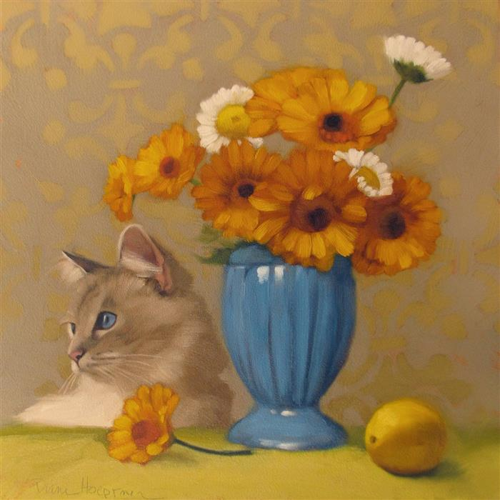 Discover Original Art by Diane Hoeptner | Ragdoll with Daisies oil painting | Art for Sale Online at UGallery