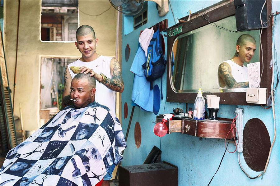 Original art for sale at UGallery.com | Cuban Barbershop by MARIA PLOTNIKOVA | $145 |  | ' h x ' w | \art\photography-Cuban-Barbershop