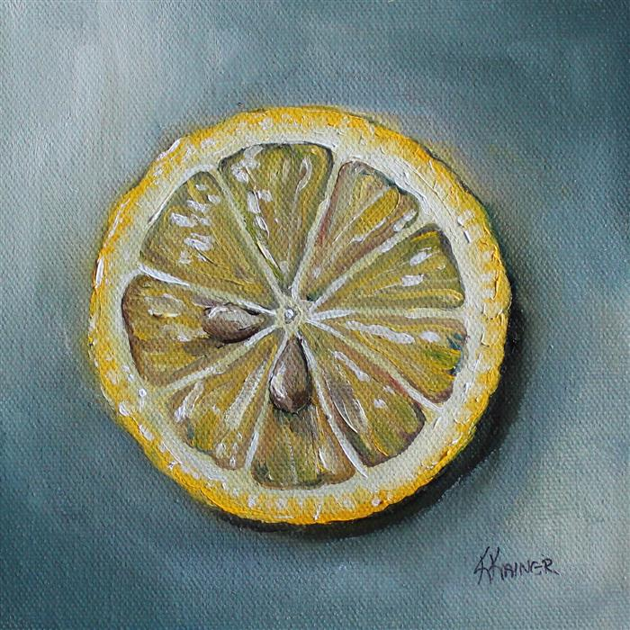 Discover Original Art by Kristine Kainer | Lemon Slice oil painting | Art for Sale Online at UGallery