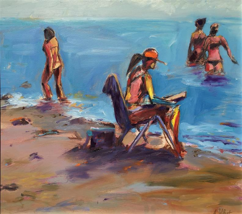 Discover Original Art by Allen Wittert | Beach Reader oil painting | Art for Sale Online at UGallery