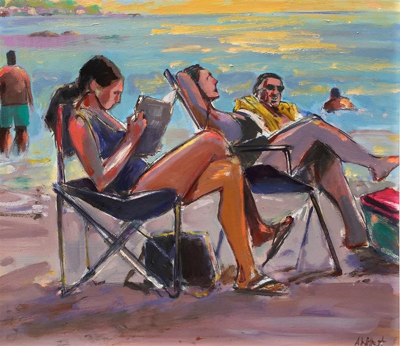 Discover Original Art by Allen Wittert | Beach Reader II oil painting | Art for Sale Online at UGallery