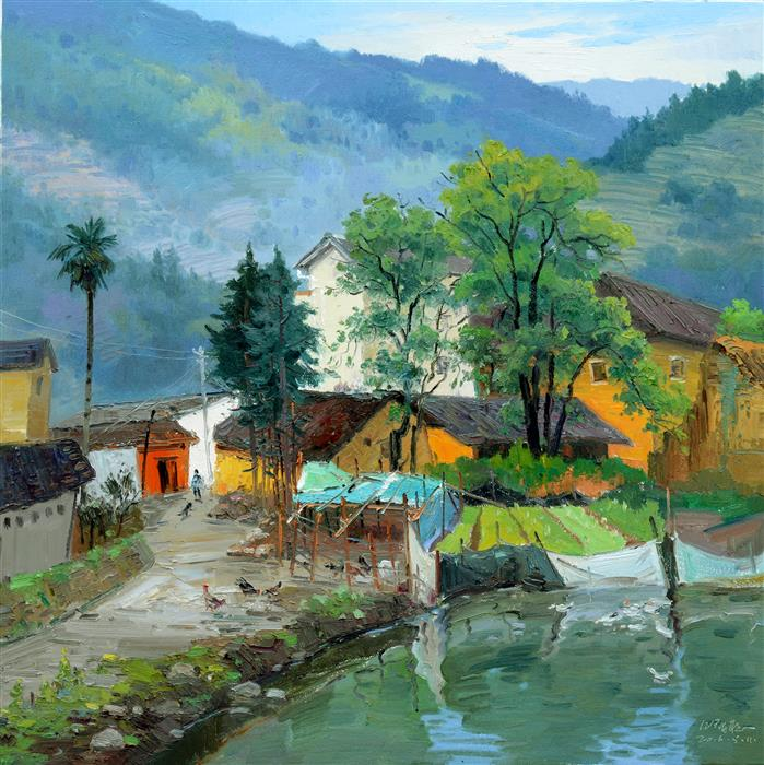 Discover Original Art by Shengnan Li | Chinese Rural Village 10 oil painting | Art for Sale Online at UGallery