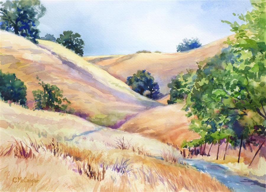 Discover Original Art by Catherine McCargar | Sugarloaf Hills, Summer watercolor painting | Art for Sale Online at UGallery