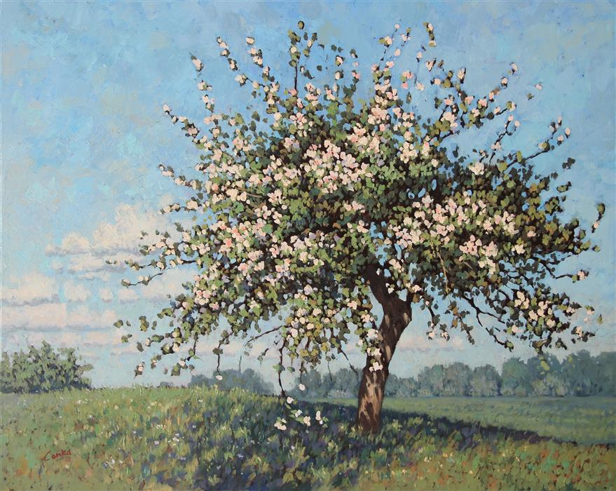 Discover Original Art by Stefan Conka | Apple in Spring oil painting | Art for Sale Online at UGallery