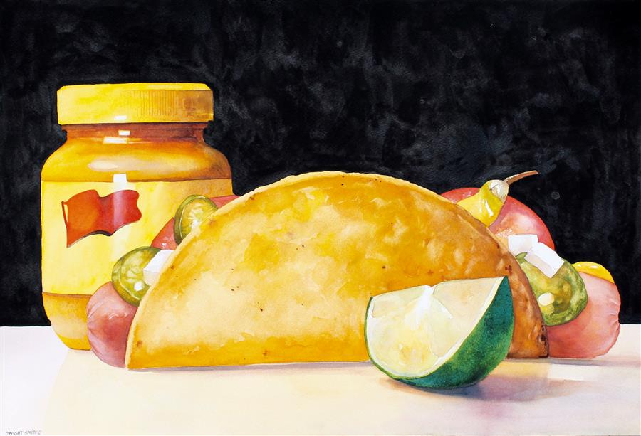 Discover Original Art by Dwight Smith | Fusion Cuisine watercolor painting | Art for Sale Online at UGallery