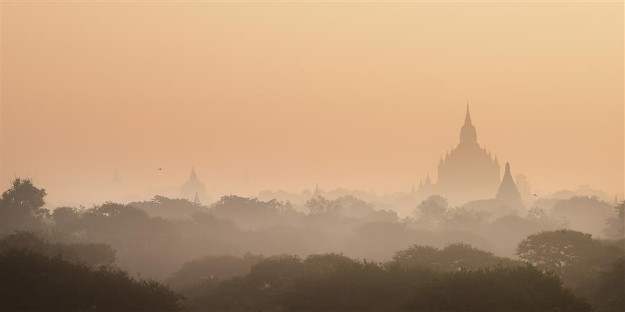Discover Original Art by Etienne Roudaut | Bagan Sunrise photography | Art for Sale Online at UGallery