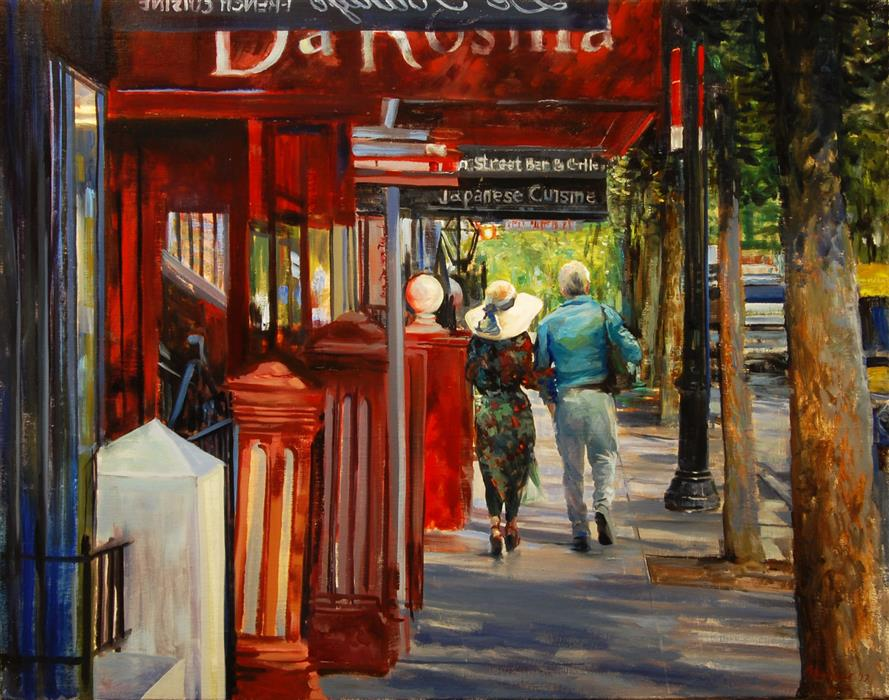 Discover Original Art by Onelio Marrero | A Walk Along Restaurant Row oil painting | Art for Sale Online at UGallery