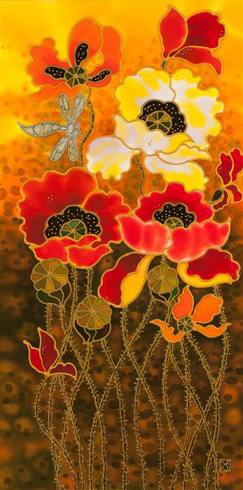 Discover Original Art by Yelena Sidorova | Poppies 3 mixed media artwork | Art for Sale Online at UGallery