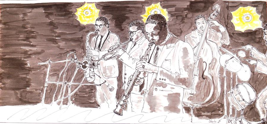 Discover Original Art by Orlando Marin-Lopez | Jazz Band Playing ink artwork | Art for Sale Online at UGallery