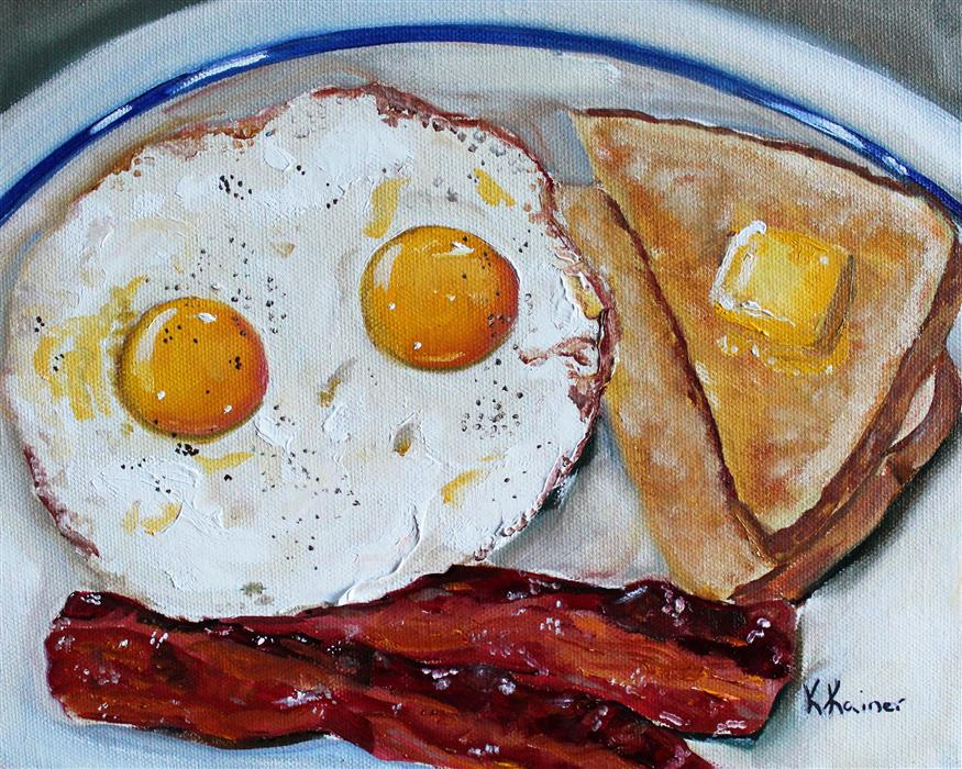 Discover Original Art by Kristine Kainer | Bacon and Eggs Breakfast oil painting | Art for Sale Online at UGallery