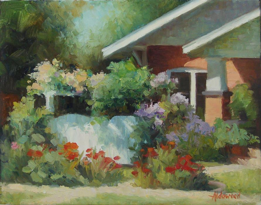 Discover Original Art by Sherri Aldawood | Bungalow Garden oil painting | Art for Sale Online at UGallery