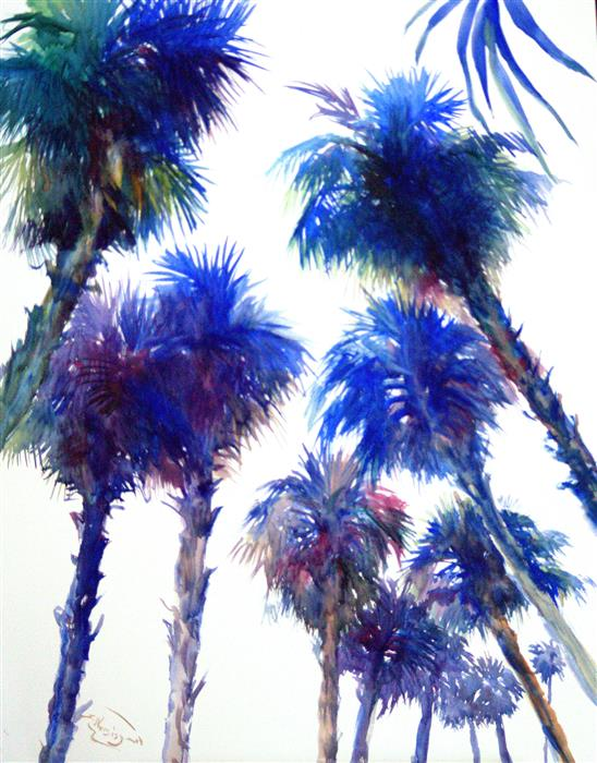 Discover Original Art by Suren Nersisyan | Under Palm Trees, Blue Shades watercolor painting | Art for Sale Online at UGallery