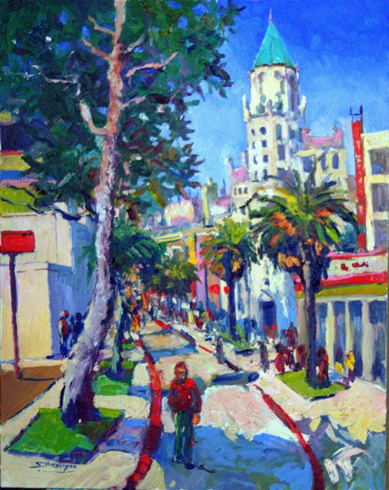 Discover Original Art by Suren Nersisyan | Street in Hollywood, Landscape with First National Bank Building (Summer) oil painting | Art for Sale Online at UGallery
