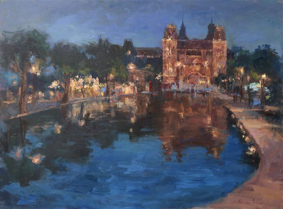 Discover Original Art by Oksana Johnson | The Rijksmuseum at Night oil painting | Art for Sale Online at UGallery