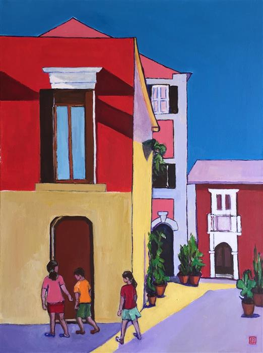 Discover Original Art by Laura (Yi Zhen) Chen | Courtyard with Kids acrylic painting | Art for Sale Online at UGallery