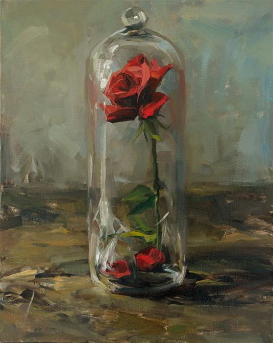 Discover Original Art by Jay Wong | A Single Rose oil painting | Art for Sale Online at UGallery