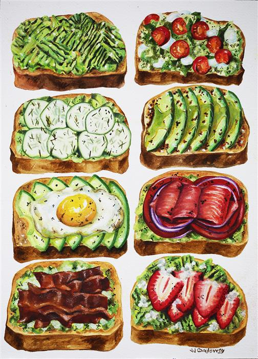 Discover Original Art by JJ Galloway | Avocado Toasts watercolor painting | Art for Sale Online at UGallery