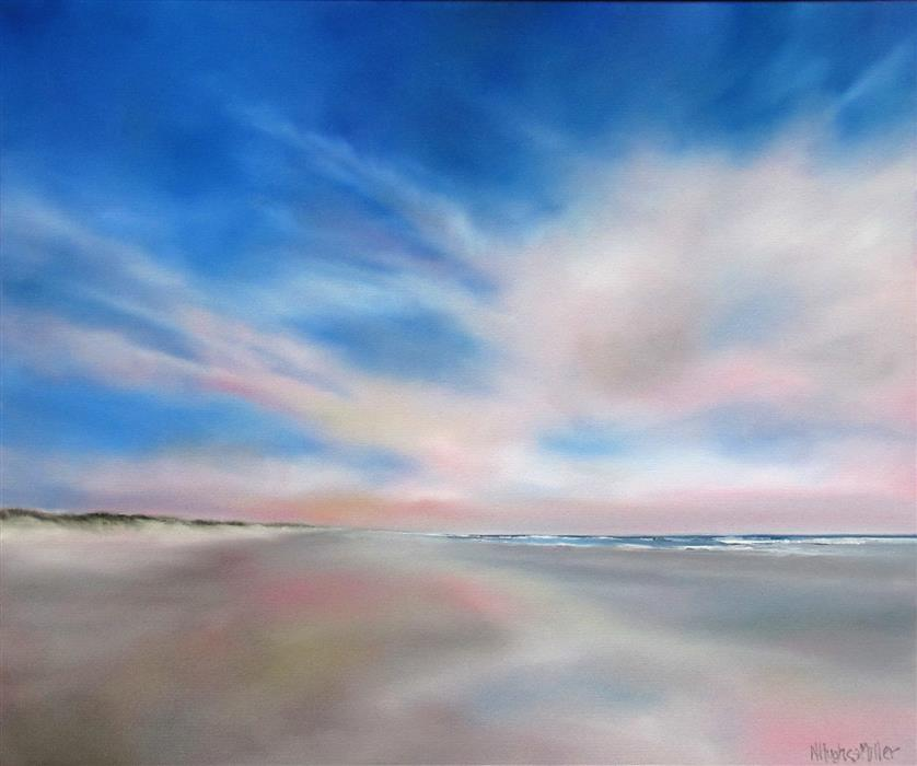 Discover Original Art by Nancy Hughes Miller | Morning Beach Bliss oil painting | Art for Sale Online at UGallery