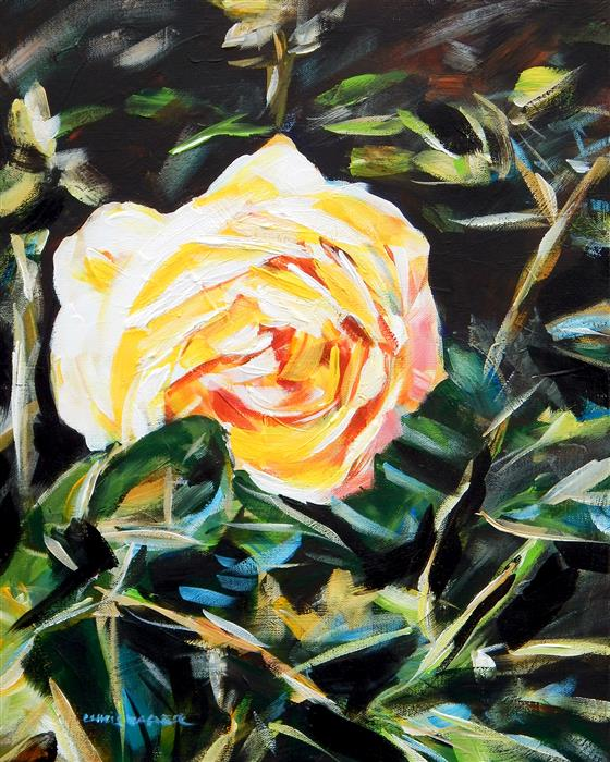 Discover Original Art by Chris Wagner | Yellow Rose acrylic painting | Art for Sale Online at UGallery