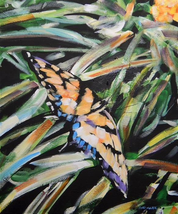 Discover Original Art by Chris Wagner | Butterfly in Grass acrylic painting | Art for Sale Online at UGallery
