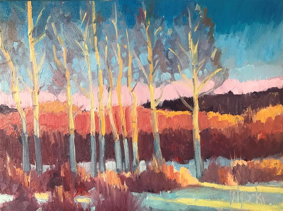Discover Original Art by Stephen Wysocki | Winter Poplars oil painting | Art for Sale Online at UGallery