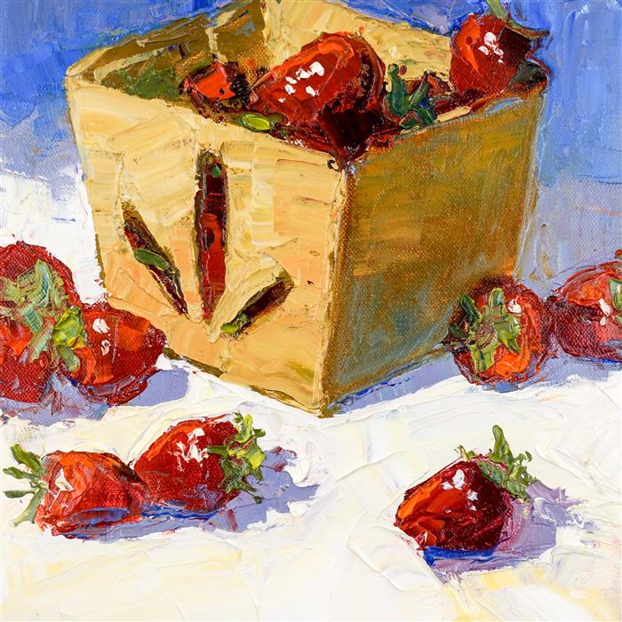 Discover Original Art by Ann  McMillan | Strawberries in a Box oil painting | Art for Sale Online at UGallery