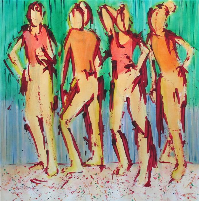 Discover Original Art by Susan K Boyle | We Four acrylic painting | Art for Sale Online at UGallery