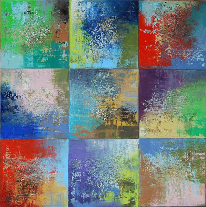 Discover Original Art by Janet Hamilton | Squares 36 oil painting | Art for Sale Online at UGallery
